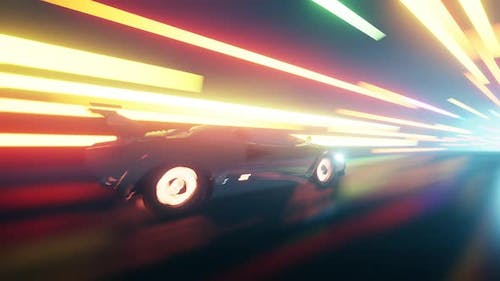 Outrun In Light Tunnel 4K