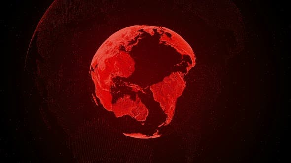 Orange Holographic Earth