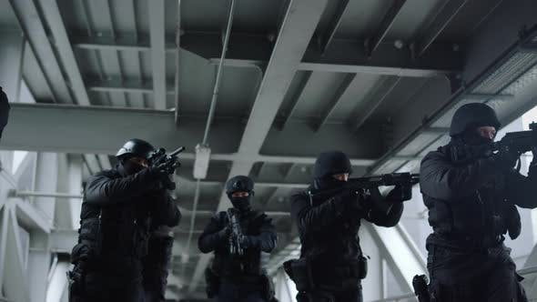 Police Special Forces Protecting Building