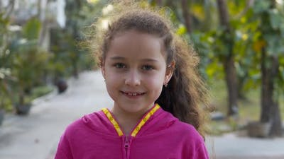 Portrait Funny Little Girl Smiling Child Looking at Camera are Walking on Street Cute Kid Child with