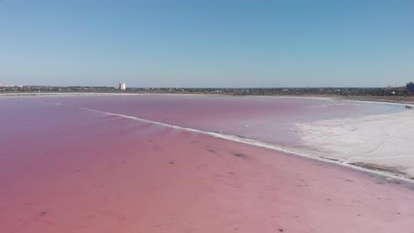 Thumbnail for Pink salty Kuyalnik, Odessa, Ukraine, aerial view.