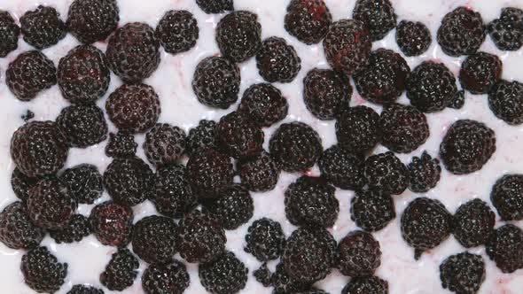 Milk fills a blackberries