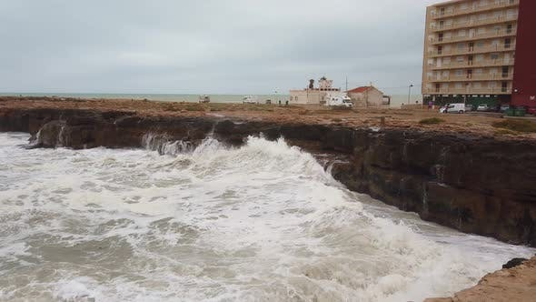 Thumbnail for Huge Hurricane Waves Crash Into Cliffs Ahead Of Storm