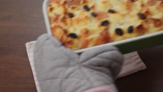 Thumbnail for Homemade baked bread pudding on the table
