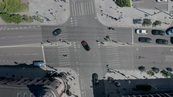 Aerial Top Down View Of Crossroad In The City Center
