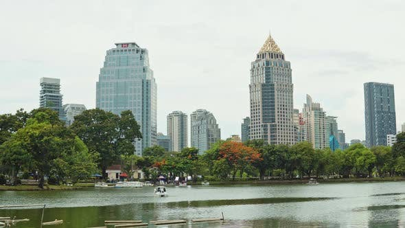 corporate buildings in the business district of the city. business center in Bangkok