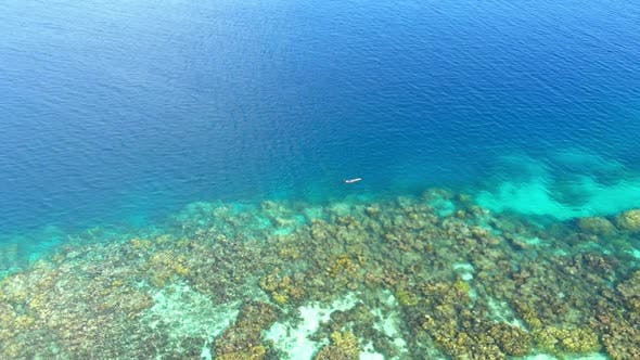 Aerial slow motion: woman snorkeling on coral reef tropical caribbean sea, turquoise blue water