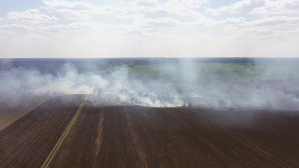 Burning Stubble Fire Line on Field