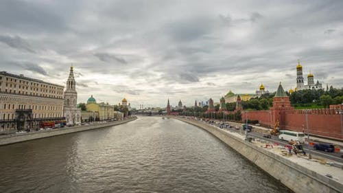 Moscow, Russia: Moscow River and Kremlin, time-lapse