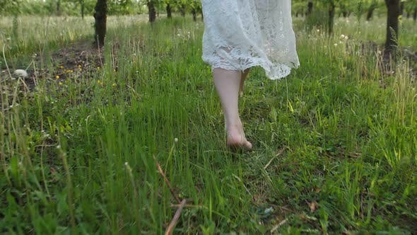 Thumbnail for Barefoot Female Legs Running in Spring Orchard
