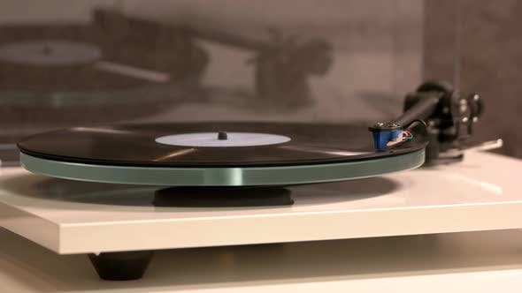 Vinyl Record on a Turntable Record Player