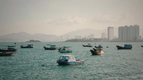 Thumbnail for Fishing boats in harbor in Vietnam