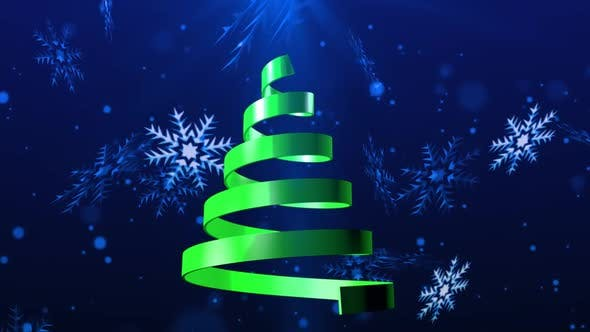 Christmas Tree On Snowflakes