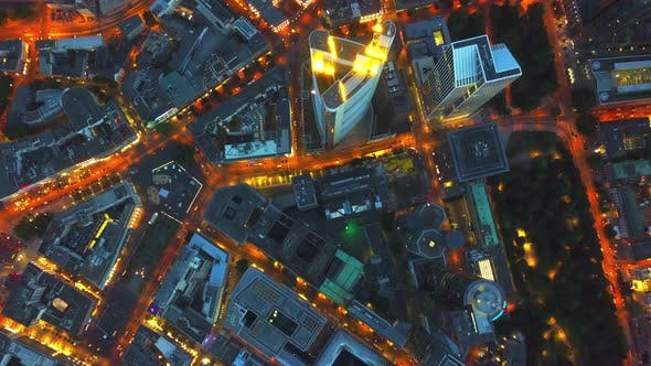 Thumbnail for AERIAL: Birds View of Frankfurt Am Main, Cars,City Lights, Traffic,Movement