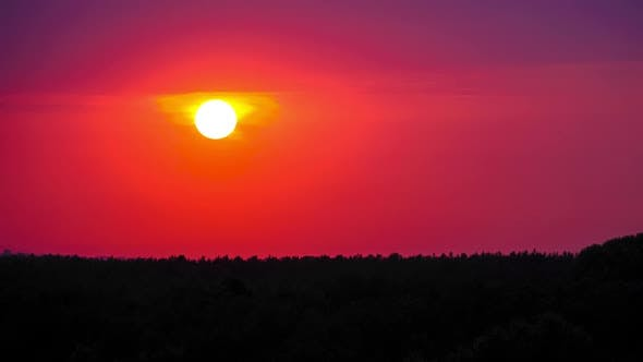 Thumbnail for Sunset in the Purple Sky. Amazing Colors of the Setting Sun. Timelapse