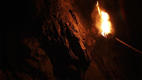 Ancient Torch in a Cave