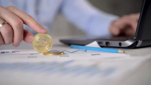 Bitcoin in the hands of a businessman