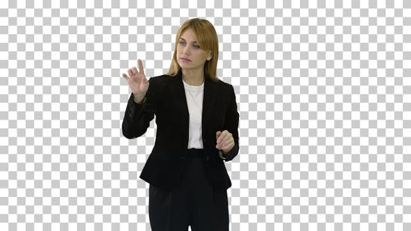 Happy businesswoman using virtual digital, Alpha Channel