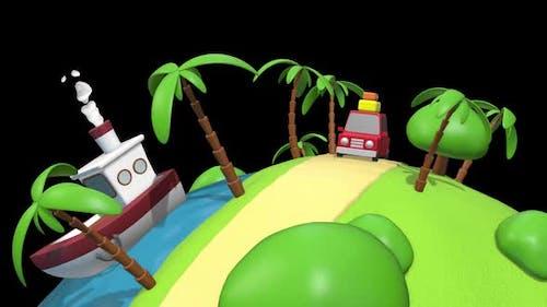 Cartoon Vacation Car 03