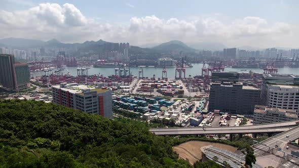 Container Port Hong Kong Against Hills