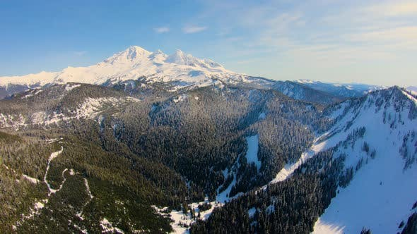 Cover Image for Mt Baker Washington North Cascades Aerial Footage Majestic Terrain Evergreen Pine Trees