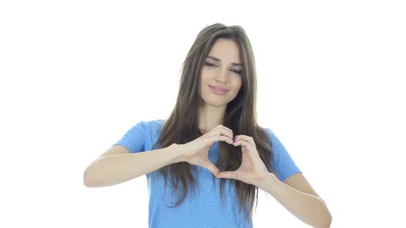 Cover Image for Handmade Heart Sign by Young Woman, White Background