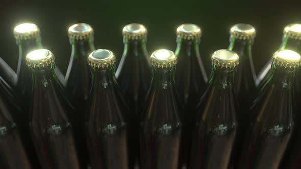 Cover Image for Beer or Soft Drink Bottles Move on Conveyor