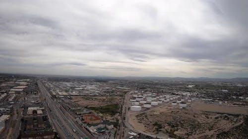 El Paso Texas Ciudad Juarez Mexico Usa Border Aerial Shot Petroleum Plants