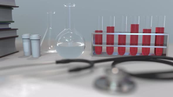Stethoscope and Clinic Laboratory Equipment on the Desk