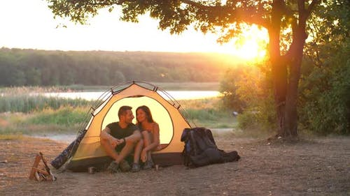 Couple in a Tent on Nature