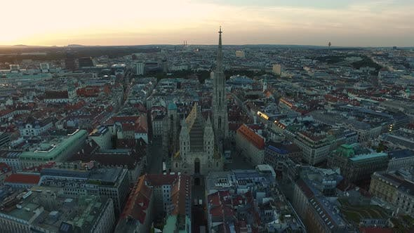 Aerial of St. Stephens Cathedral and its surroundings