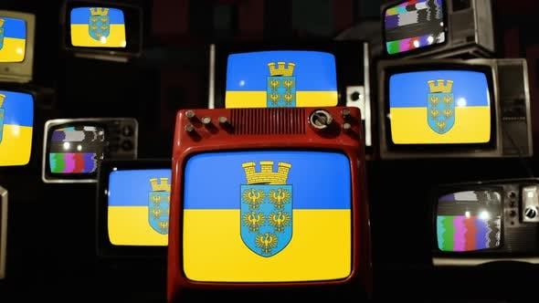 Flag of Lower Austria, Austrian State, and Retro TVs.