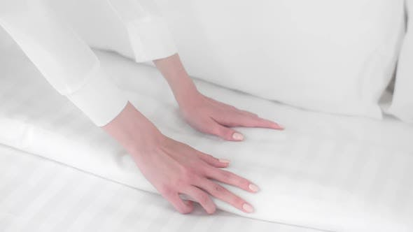 Thumbnail for Woman Makes the Bed, Maid Straightens the Blanket, To Make the Bed, Fresh Sheets, Bed Linen, Clean