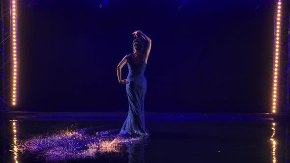 Thumbnail for Attractive Sexy Woman Dancing Flamenco Elements in a Dark Studio on the Water Surface
