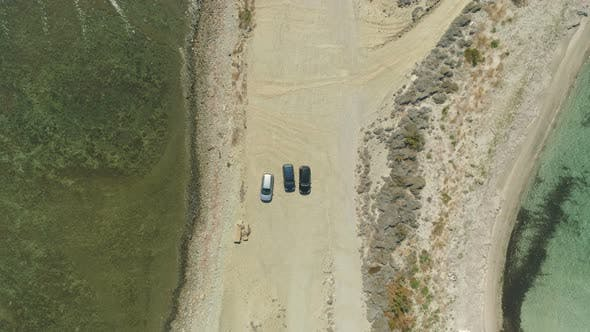 Top View of Cars Parked at Coastline in Lemnos, Greece
