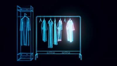 Market Rack Clothes Hologram Rotating 4K