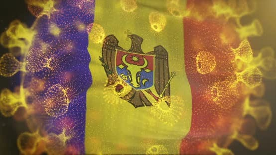 Moldova Flag With Coronavirus Microbe Centered