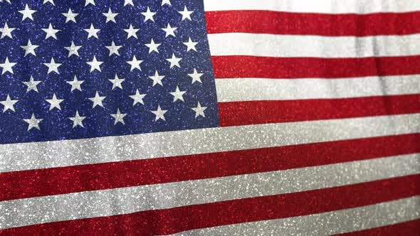 Thumbnail for Looped USA National Flag Waving on Realistic Satin and Glitter
