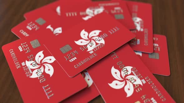 Thumbnail for Pile of Credit Cards with Flag of Hong Kong