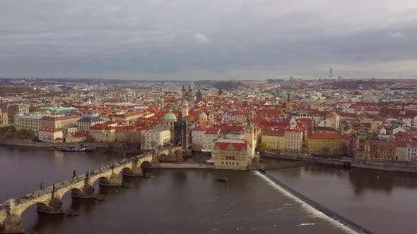 Thumbnail for Prague, Aerial View of Karlov Bridge in Autumn November