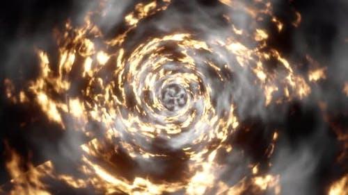 Abstract Fire Storm Tornado Tunnel 4K 01
