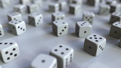 Dice with Rupee Sign Among Scattered Gambling Dices
