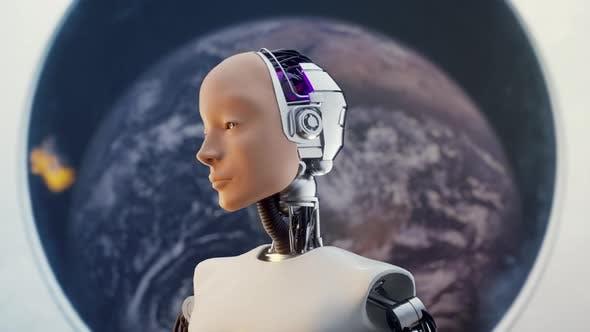 Thumbnail for Futuristic Humanoid Sci-fi Female in Space