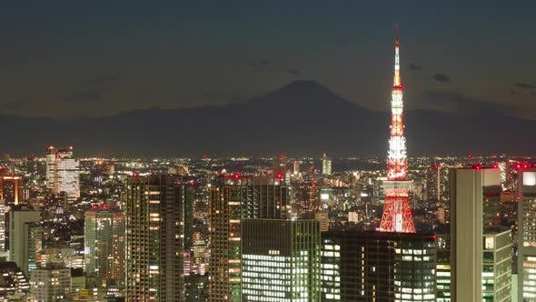 Mt Fuji and Tokyo Tower Time Lapse