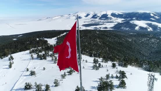 Thumbnail for Turkish Flag And Snowy Mountains Aerial View