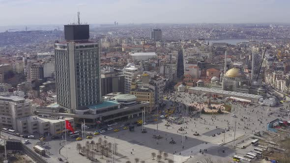 Thumbnail for Istanbul Bosphorus Taksim Square And Mosque Construction Aerial View 11