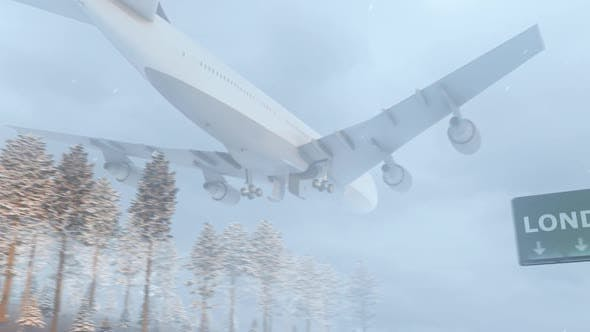 Thumbnail for Airplane Arrives to London In Snowy Winter