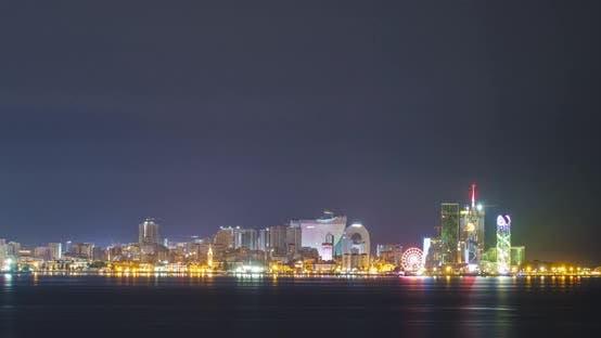 Amazing timelapse of Batumi city skyline. day to night time lapse of Batumi