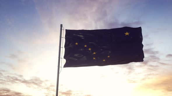 State Flag of Alaska Waving in the Wind