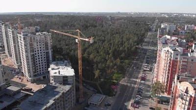 City apartments under construction. House development